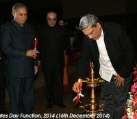 Shri Manohar Parrikar, Hon'ble Raksha Mantri and Shri Rao Inderjit Singh, Hon'ble Raksha Rajya Mantri Lighting the Lamp, marking the start of Defence Estates Day Function on 16th December 2014 at Manekshaw Auditorium, Delhi Cantt