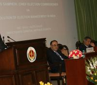 "Shri V S Sampath, Chief Election Commissioner of India delivering the Defence Estates Day Lecture on ""Evolution of Election Management in India"" on 13th December 2014 at Ashoka Hall Manekshaw Centre, Delhi Cantt"