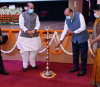 Shri Ajay Kumar, Defence Secretary lighting the lamp for the launch of eChhawani Project on 16-02-2021