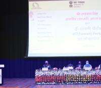 Shri Rajnath Singh, Hon'ble Raksha Mantri addressing the audience during the launch of eChhawani Project on 16-02-2021