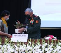 General Bipin Rawat, CDS (PVSM, UYSM, AVSM, YSM, SM, VSM, ADC) receiving memento from Smt Deepa Bajwa, the then Director General Defence Estates during the launch of eChhawani Project on 16-02-2021