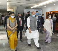 Hon'ble RM departing Chanakya Auditorium, NIDEM after the launch of eChhawani Project on 16-02-2021