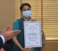 DED 2020: Communicating the Raksha Mantris' Awards for Excellence in the field of Public Health Challenge of COVID to Cantonment Board, Kirkee