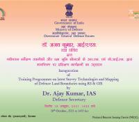 नवीनतम सर्वेक्षण तकनीकों और रक्षा भूमि सीमाओं के मानचित्रण पर प्रशिक्षण कार्यक्रमों का उद्घाटन