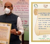Shri Rajnath Singh, Hon'ble Raksha Mantri inaugurating Life Insurance for COVID Warriors