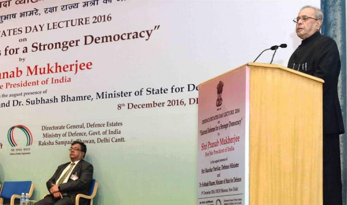 "Hon'ble President delivering ""4th Defence Estates Day Lecture(2016)"" on 08th December, 2016"