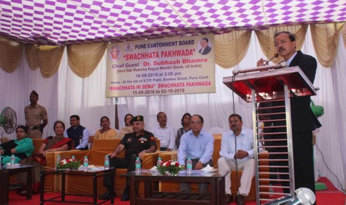 Dr. Subhash Ramrao Bhamre, Hon'ble RRM addressing during Swachhata Hi Seva, 2018 in Pune Cantt