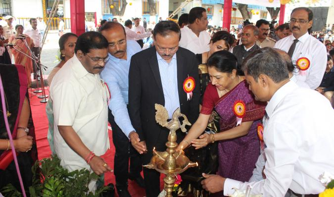Lighting of lamp by dignitaries during Inauguration Ceremony of Dr. Ambedkar Memorial Industrial Training Institute (ITI) at Pune Cantonment