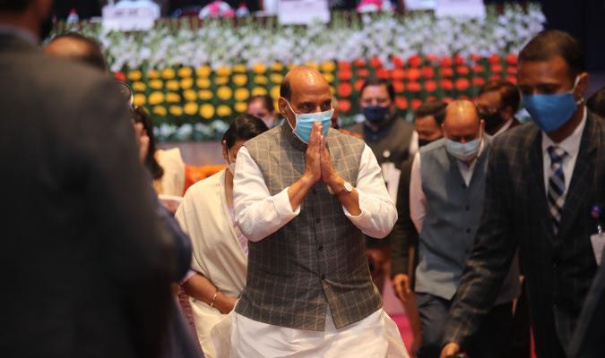 16-02-2021 को ई-छावनी परियोजना लोकार्पण समारोह के दौरान लिया गया माननीय रक्षा मंत्री श्री राजनाथ सिंह का छाया चित्र।