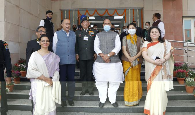 Group Photograph with Hon'ble RM during the Launch of eChhawani Project on 16-02-2021