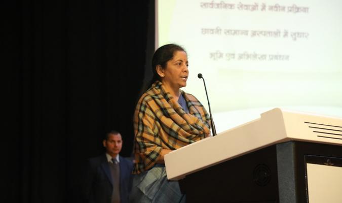 Hon'ble RM addressing the gathering during RM's Awards for Excellence Presentation Ceremony at Chankya Auditorium, NIDEM, Delhi Cantt