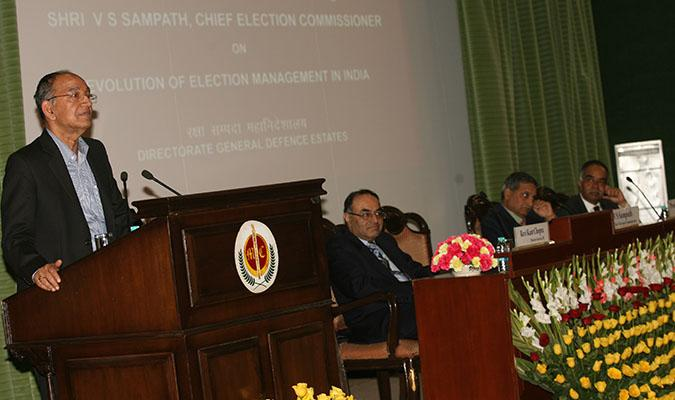 "Shri V S Sampath, Chief Election Commissioner of India delivering the Defence Estates Day Lecture on ""Evolution of Election Management in India"" on 13th December 2014 at Ashoka Hall Manekshaw Centre, Delhi Cantt"