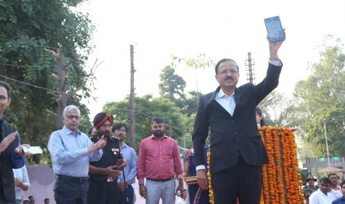 Hon'ble Rajya Raksha Mantri inaugurating Samadhan App at Ambala Cantonment