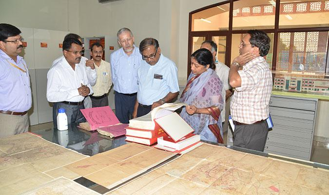 Chairman, UPSC & Member, UPSC viewing the decision files restored at Central Record Room of AU&RC