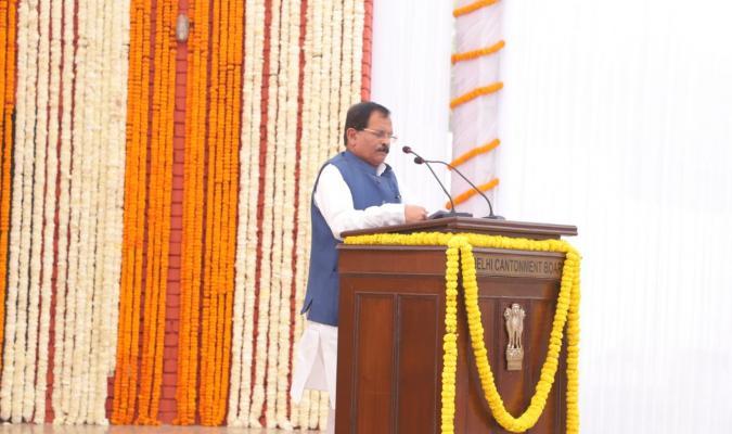 Swachhata Pakhwada 2019: Shri Shripad Yesso Naik, Hon'ble RRM addressing during the ceremoney