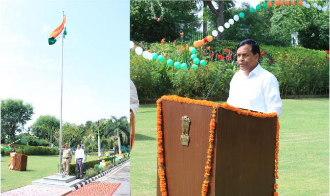 Shri Jojneswar Sharma, DGDE during flag hosting on the occasion of 71st Independence Day celebration