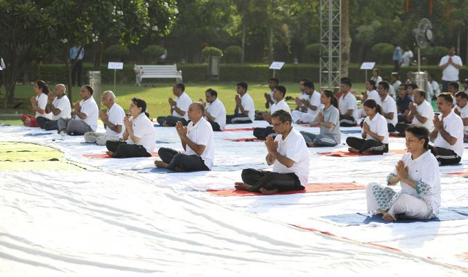 International Yoga Day 2019 celebration at Srinagesh Garden, Delhi Cantt