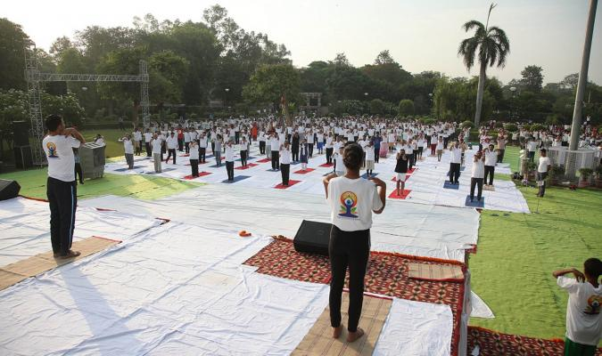 Yoga exercise during the celebration of International Yoga Day, 2019 at Srinagesh Garden, Delhi Cantt