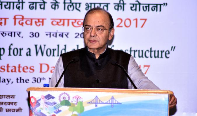 "Shri Arun Jaitely, Hon'ble Finance Minister delivering ""5th Defence Estates Day Lecture(2017)"" on 30th November, 2017 on ""India's Roadmap for a World-class Infrastructure"""