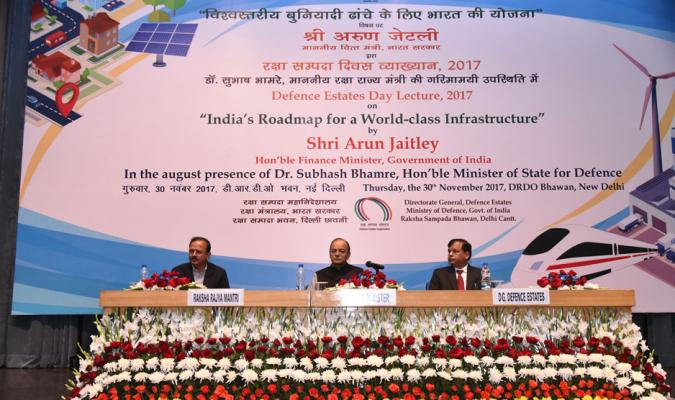 Hon'ble Arun Jaitely, Hon'ble Finance Minister, Dr Shubhash Bhamre, RRM and Shri J Sharma, DGDE on Dais